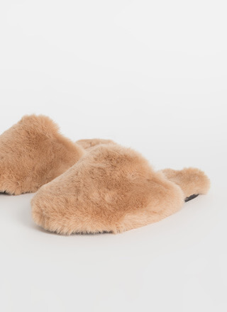 Furry Slippers Faux Fur Slide Sandals
