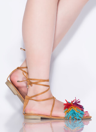 Shaggy Chic Lace-Up Pom-Pom Sandals