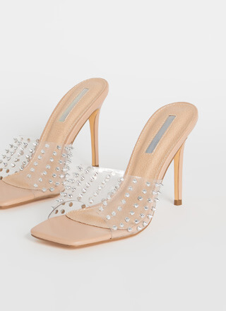 Danger Spiky Studded Clear Mule Heels
