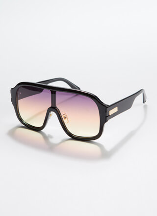 Oh Ombre Thick-Rimmed Goggle Sunglasses