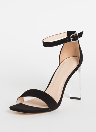 Bar Made Clear Faux Nubuck Heels