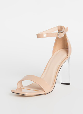 Bar Made Clear Faux Patent Heels