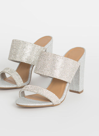 Rhinestone Power Metallic Chunky Heels
