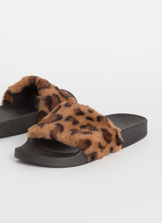 Soft On You Furry Leopard Slide Sandals