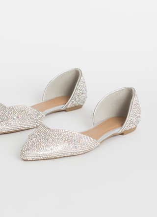 Jeweled Shoes Rhinestone D'Orsay Flats