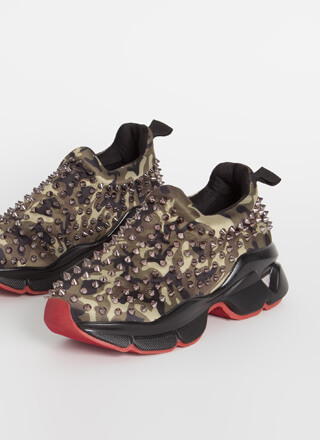 Heart Rate Spike Studded Camo Sneakers