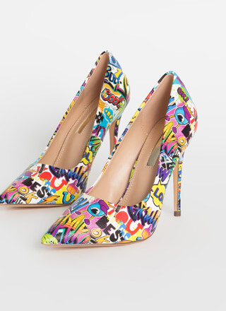 Fun Times Pointy Graffiti Pumps
