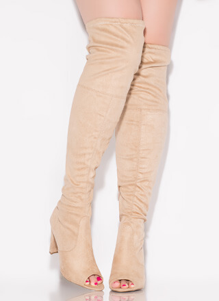 Peekaboo Tied Peep-Toe Thigh-High Boots