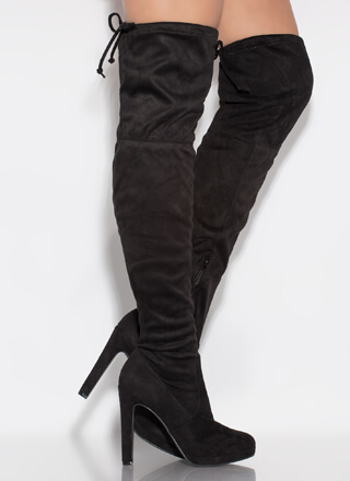 It's Forever Drawstring Thigh-High Boots