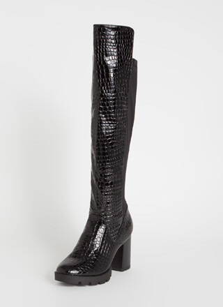 Crocodile Crossing Chunky Platform Boots