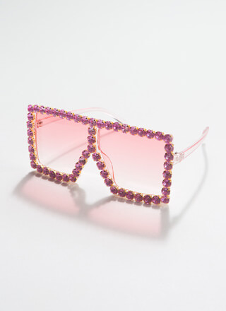 Such A Gem Jeweled Square Sunglasses
