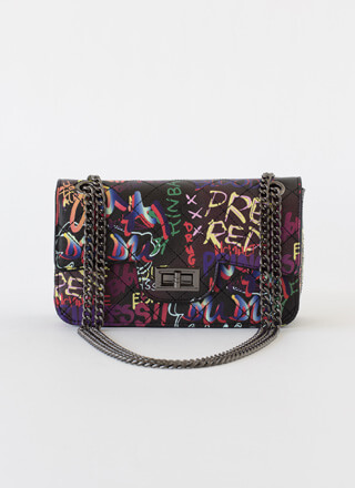 Wearable Art Chain-Strap Graffiti Purse