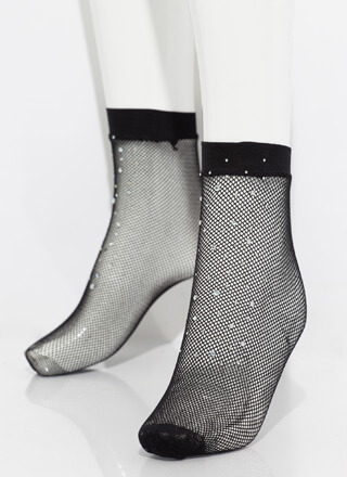 Get Cool Feet Jeweled Fishnet Socks