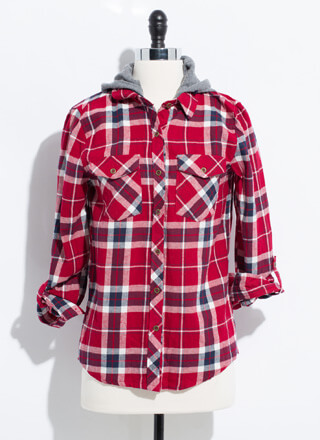 Cute Flannel Hooded Plaid Button-Up