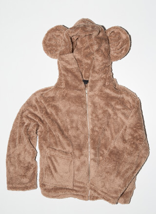 Big Ol' Teddy Bear Faux Fur Hoodie