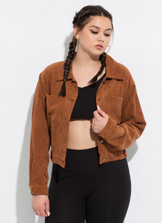 Top Pick Button-Front Corduroy Jacket
