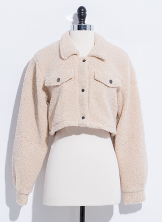 Adorbs Cropped Faux Shearling Jacket