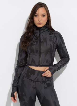Cool In Camo Cropped Funnel-Neck Jacket