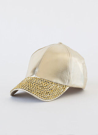 In Concert Faux Leather Jewel-Stud Cap