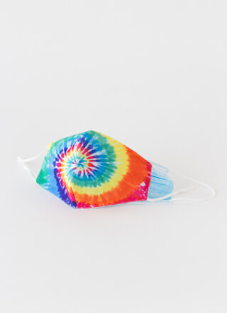 Happy Face Pocketed Tie-Dye Face Mask