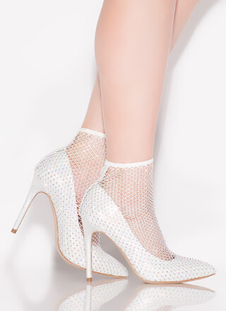 Net Gear Pointy Jeweled Sock Pumps