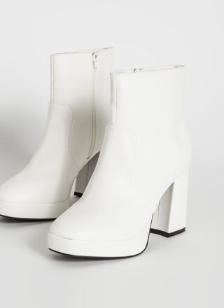 Big Hit Chunky Faux Leather Booties