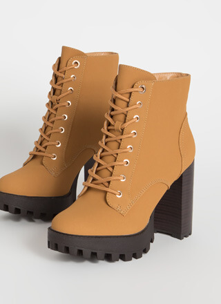 Workboots On Chunky Lace-Up Lug Booties