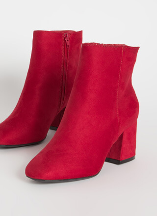Notch Above Faux Suede Block Booties