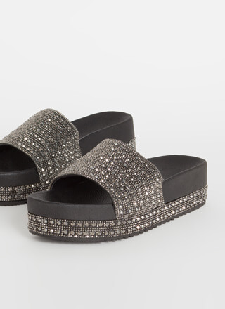 Bazaar Jeweled Platform Slide Sandals