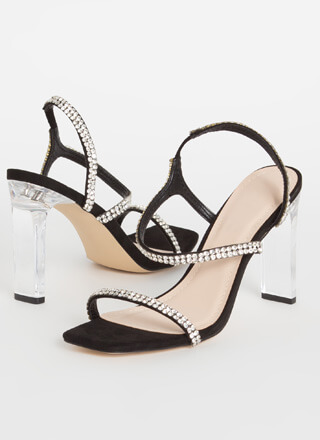 Clear Winner Jeweled Faux Suede Heels