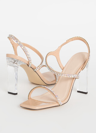 Clear Winner Jeweled Faux Patent Heels