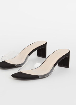 Speak Clearly Faux Nubuck Mule Heels