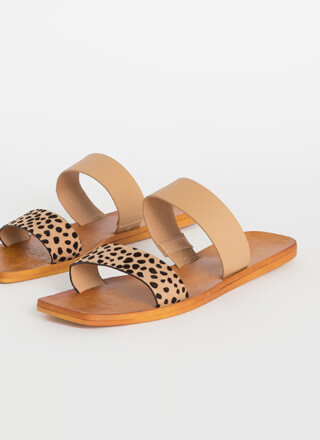 On Holiday Cheetah Strap Slide Sandals