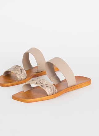 On Holiday Snake Strap Slide Sandals