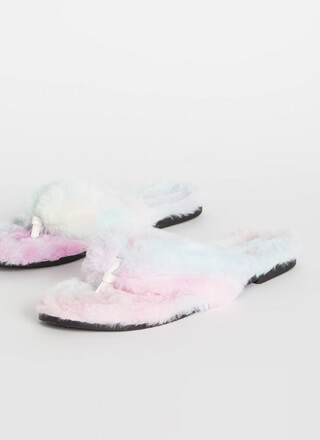 Soft Expression Faux Fur Thong Sandals