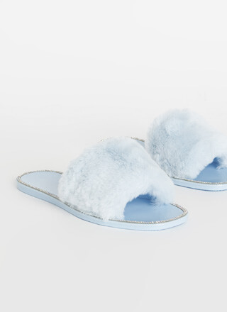 Fur Some Sparkle Jeweled Slide Sandals