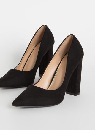Chunky Town Pointy Faux Suede Pumps