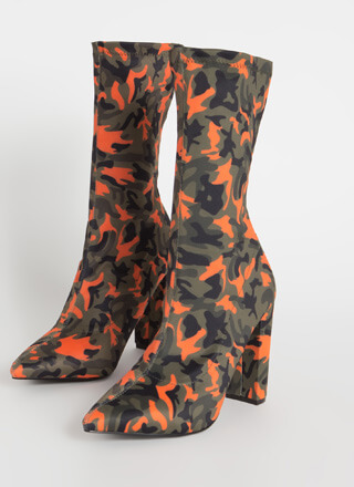 Pull Rank Pointy Camo Sock Booties