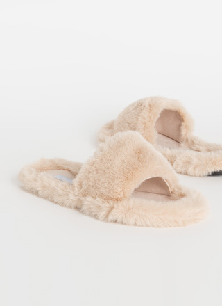 Get Comfortable Faux Fur Slide Sandals