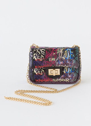 Tag I'm It Quilted Graffiti Mini Purse
