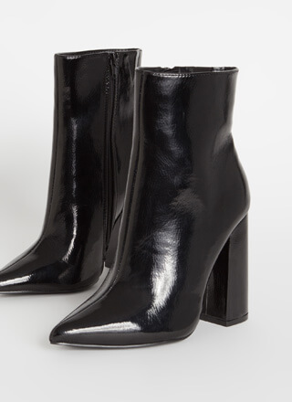 Point Person Chunky Faux Patent Booties