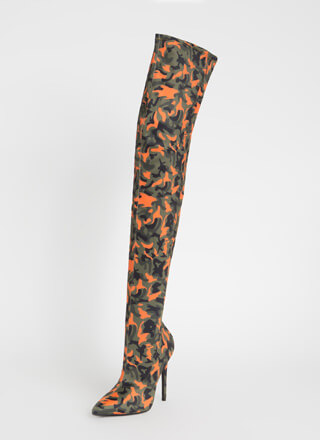 Pull Rank Pointy Camo Thigh-High Boots