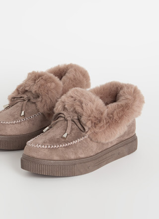 So Chill Furry Platform Moccasin Flats