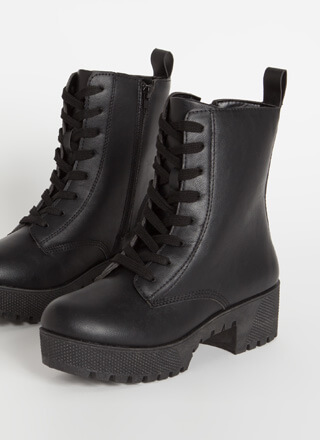 Combat Ready Faux Leather Platform Boots