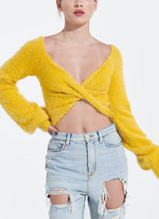What A Twist Fuzzy Knit Cropped Sweater