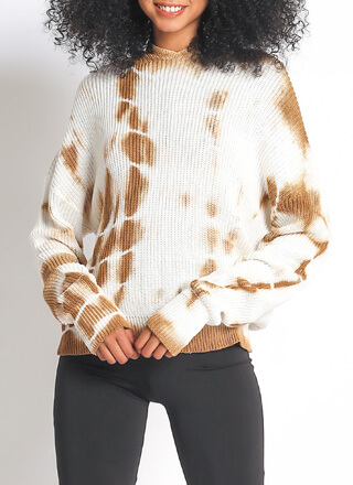 New In Tie-Dye Hooded Knit Sweater