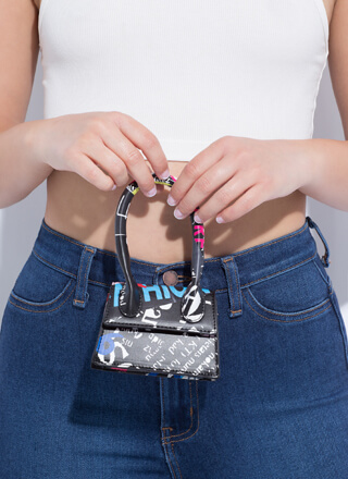 Handle It Text Print Micro Purse