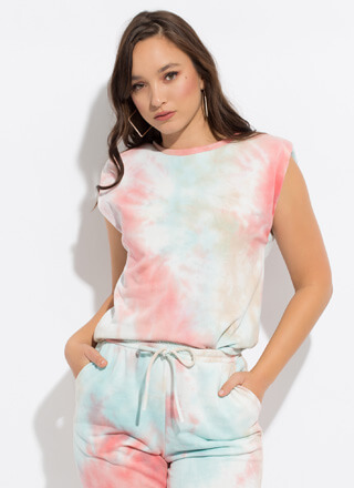 Treat Me Rolled-Sleeve Tie-Dye Tank Top