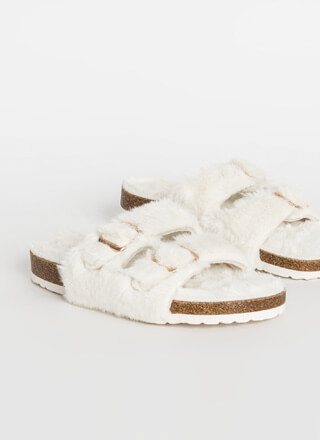 Soft Landing Furry Buckled Slide Sandals