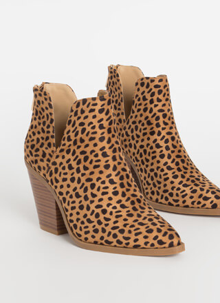 Notch Out Chunky Faux Suede Booties